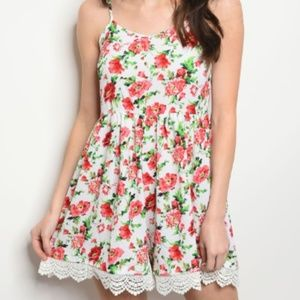 NWT Textured Lace Hem Floral Spring Romper